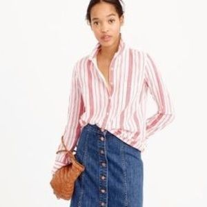 J. CREW Popover Shirt in Striped Cotton Gauze